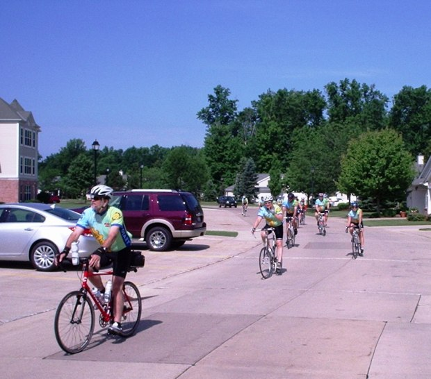 Allen Porter leads tour into rest stop at Avon Avon Lake Rotary club on day one