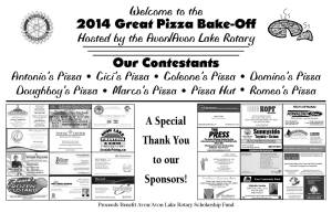 2014 Pizza Bakeoff Placemat
