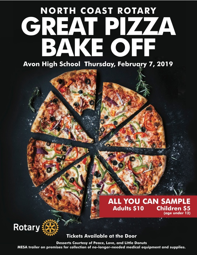 Support Rotary's initiatives by joining us Thursday February 7 4:30 - 6:30 PM at Avon High School!  Sample Pizza from Café Piccolo