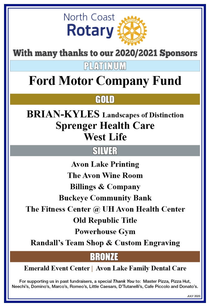 Thank you Sponsors of North Coast Rotary
